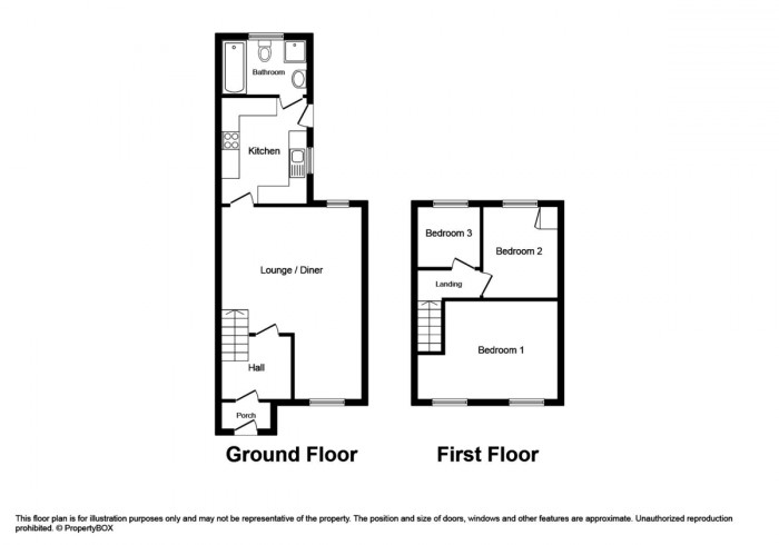 Floorplan for Hill Street, Ystrad Mynach